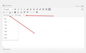 WordPress Tiny Mce custom font-size and font-family